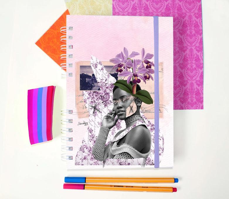 Planner semanal com colagem manual, feito por Maria Rosa.