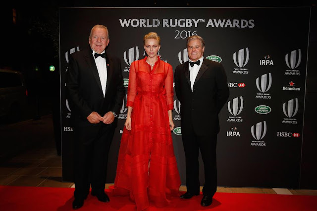 Princess Charlene in Carolina Herrera at the World Rugby Awards