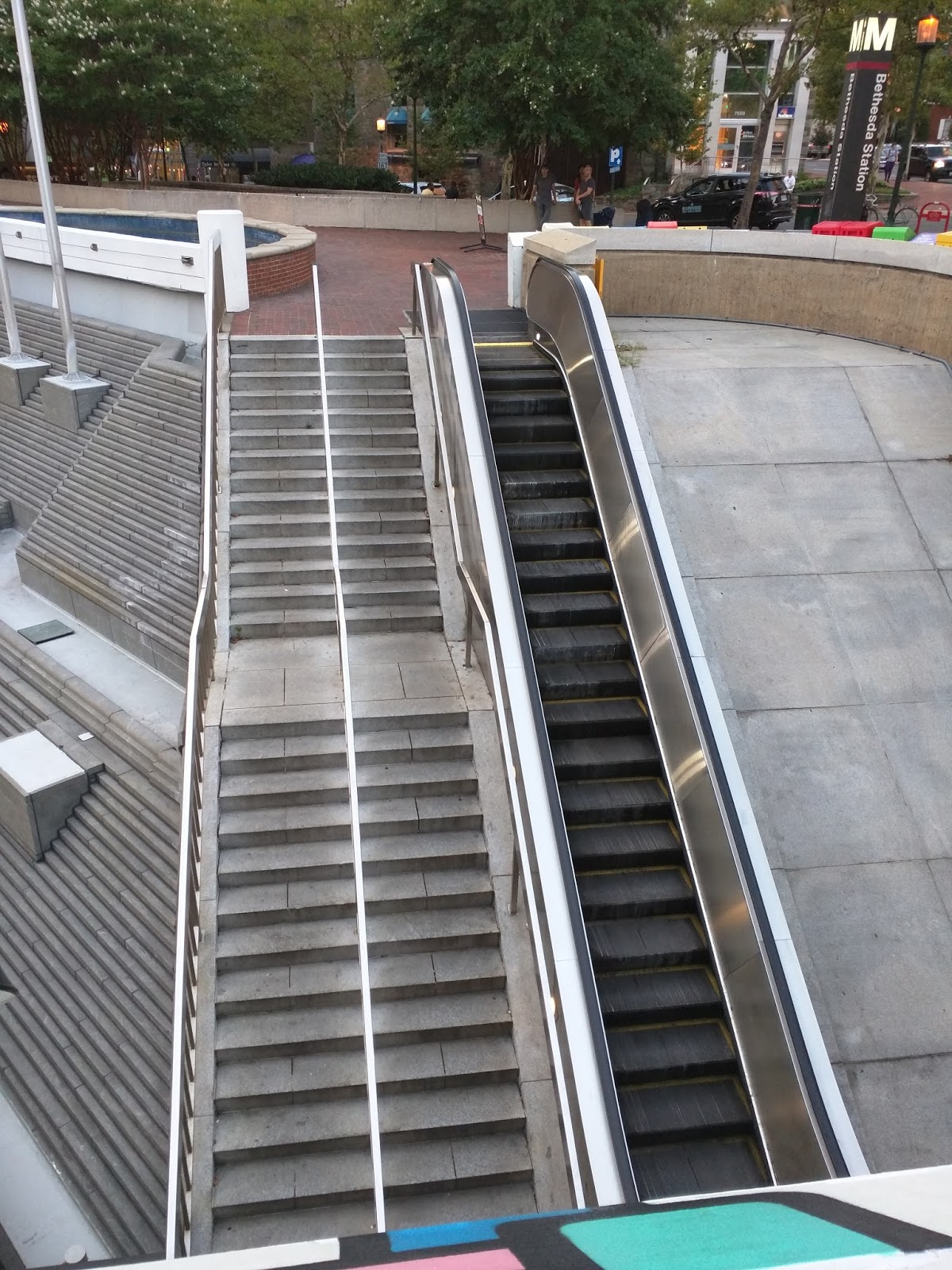 The plaza to bus bays escalator so often out of commission was back offline again during the evening rush hour last night just weeks after being repaired