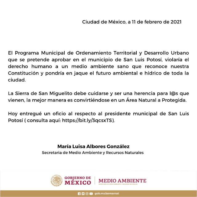 Las áreas colindantes con el póligono de ANP Sierra de San Miguelito no son urbanizables: Semarnat