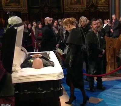 Celine Dion Tearfully Pats Rene Angeli's Body At Funeral