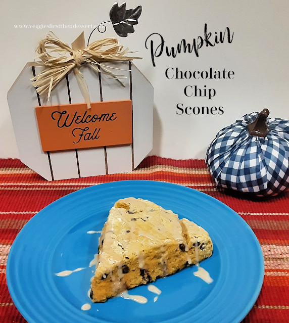 Pumpkin Chocolate Chip Scones - Veggies First Then Dessert #PumpkinWeek
