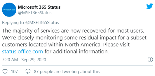 Microsoft 365 Services Coming Back After Major Outage | microsoft outage