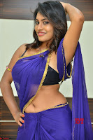 Actress Priya in Blue Saree and Sleevelss Choli at Javed Habib Salon launch ~  Exclusive Galleries 005.jpg