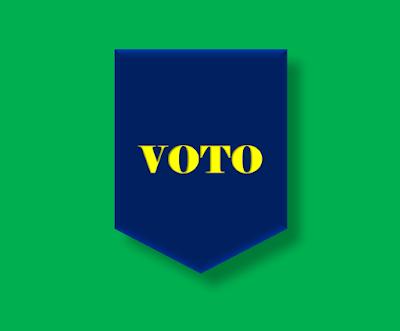 A imagem está escrito a palavra voto. A ação de votar é  é sublime mas muitos eleitores são indecisos na hora de votar.