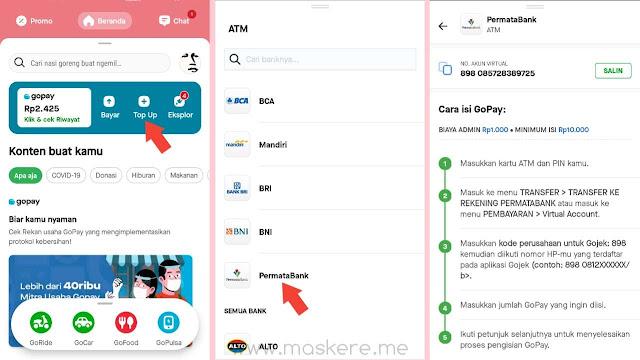 Nomor virtual account top up saldo GoPay Permata Bank