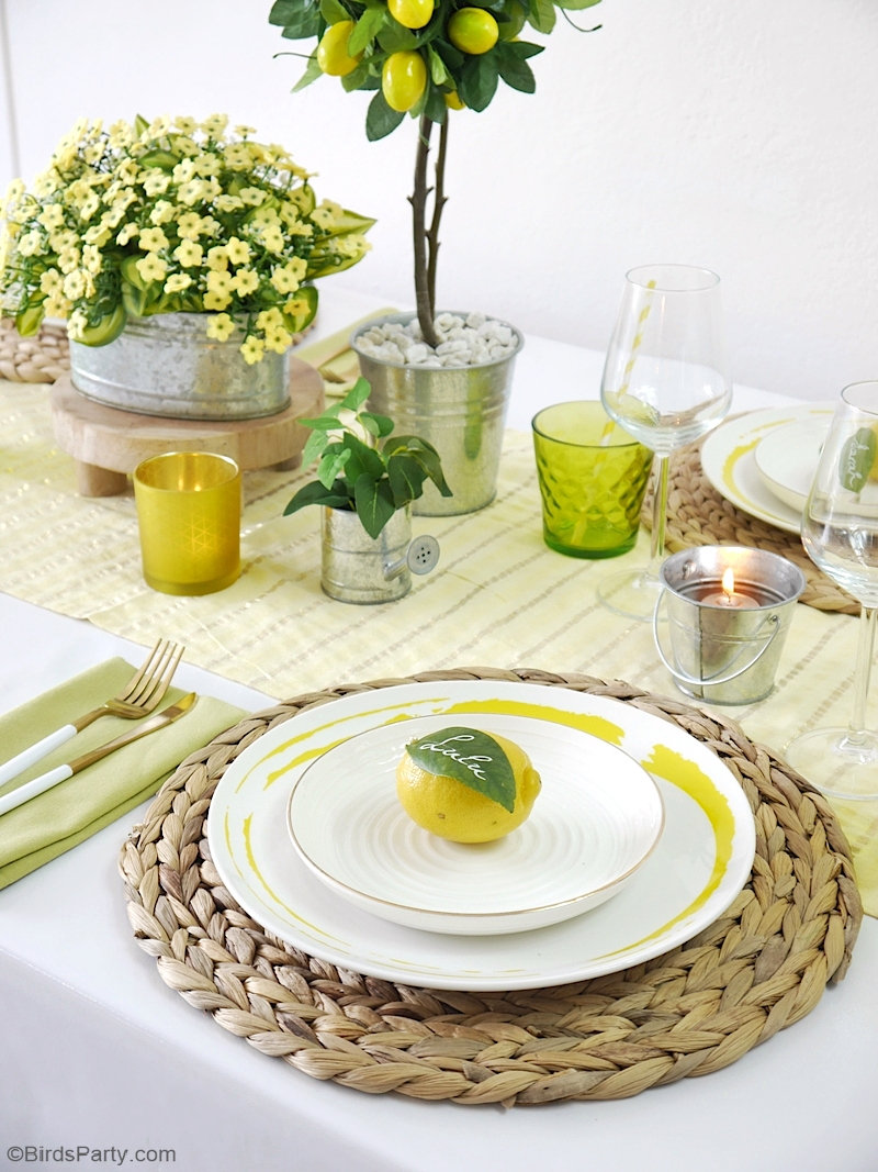 A Lemon Themed Tablescape for Summer - easy DIY crafts and ideas to style a pretty summer table! by BirdsParty.com @birdsparty #lemon #lemontable #tablescape #tabledecor #tablesetting #lemontablescape #summertable #lemontablescape #lemondecor #lemondi