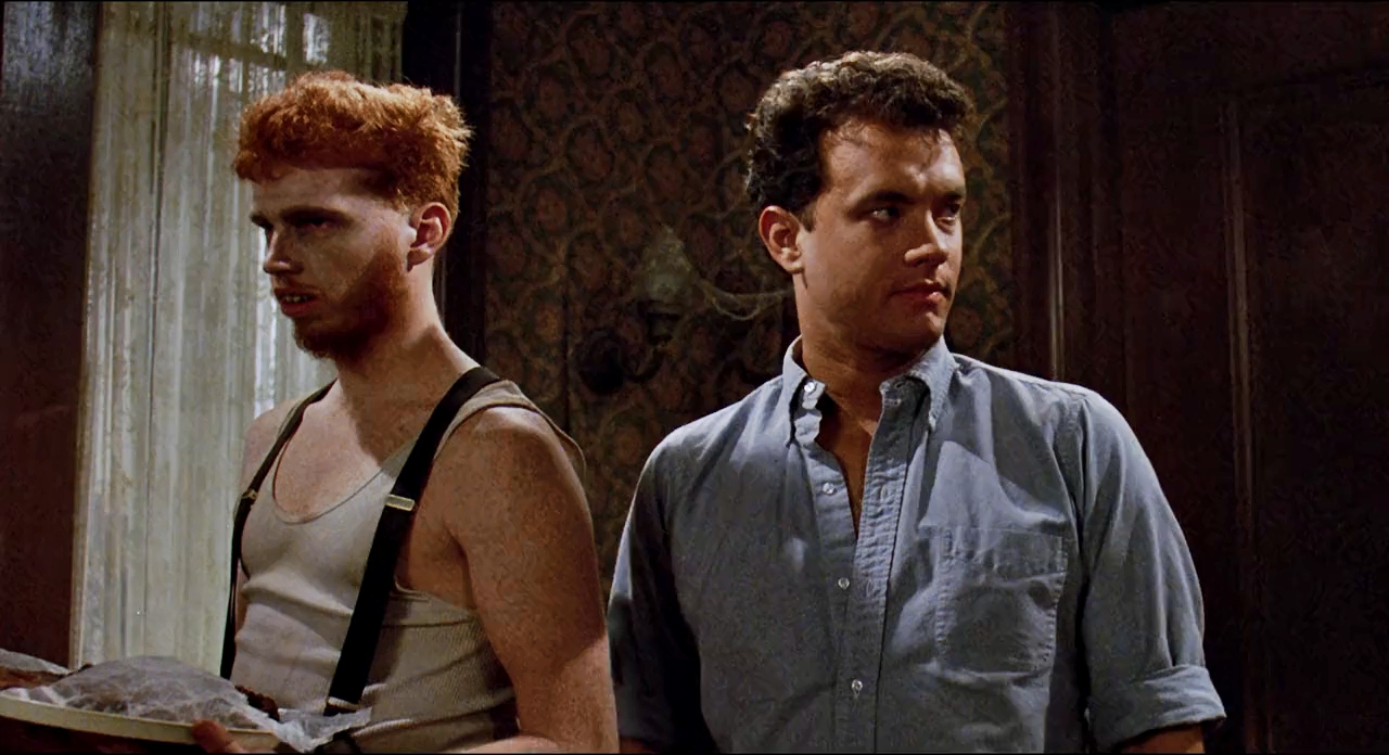 Ray Peterson (Tom Hanks) and Hans Klopek (Courtney Gains) in The 'Burbs.