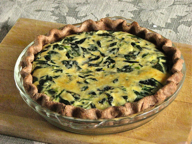 Swiss Chard Quiche with Cheddar and Green Onion