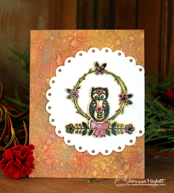 Owl Card by Larissa Heskett | Cottage Garden Stamp set by Newton's Nook Designs #newtonsnook