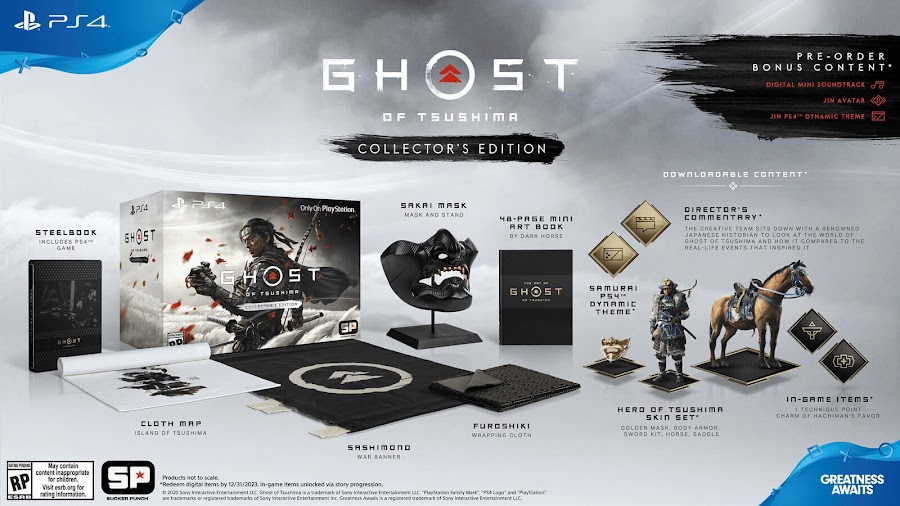 ghost of tsushima collector's edition release date june 26 collector's edition jin sakai open world action-adventure game sucker punch productions sony interactive entertainment playstation 4 pre-order bonus jin avatar digital mini soundtrack ps4 dynamic theme replica mask polyresin display stand sashimono war banner traditional-style furoshiki wrapping cloth steelbook case full world map digital content voucher