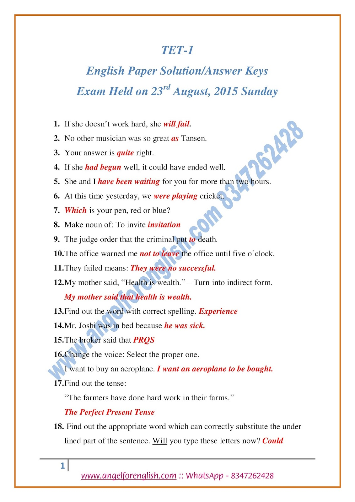 Papers for english