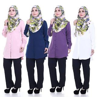 Kemeja Muslimah Plus Size Shira M L XL 2XL 3XL 4XL
