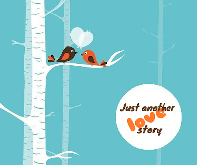 Love story of two birds sitting in a branch of a tree