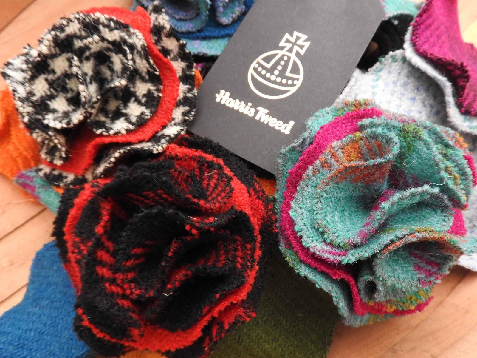Somerset Stitch Quick Stitch Harris Tweed Rose Brooch