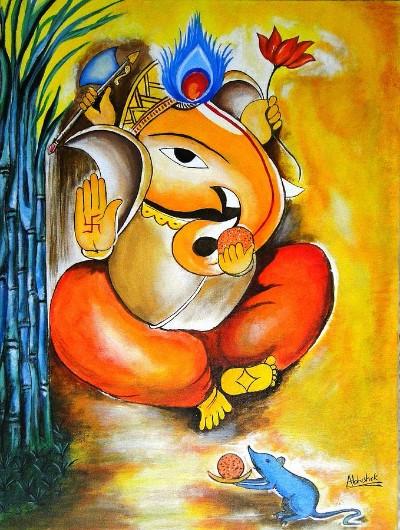 Hindu God vikata harta ganesha painting