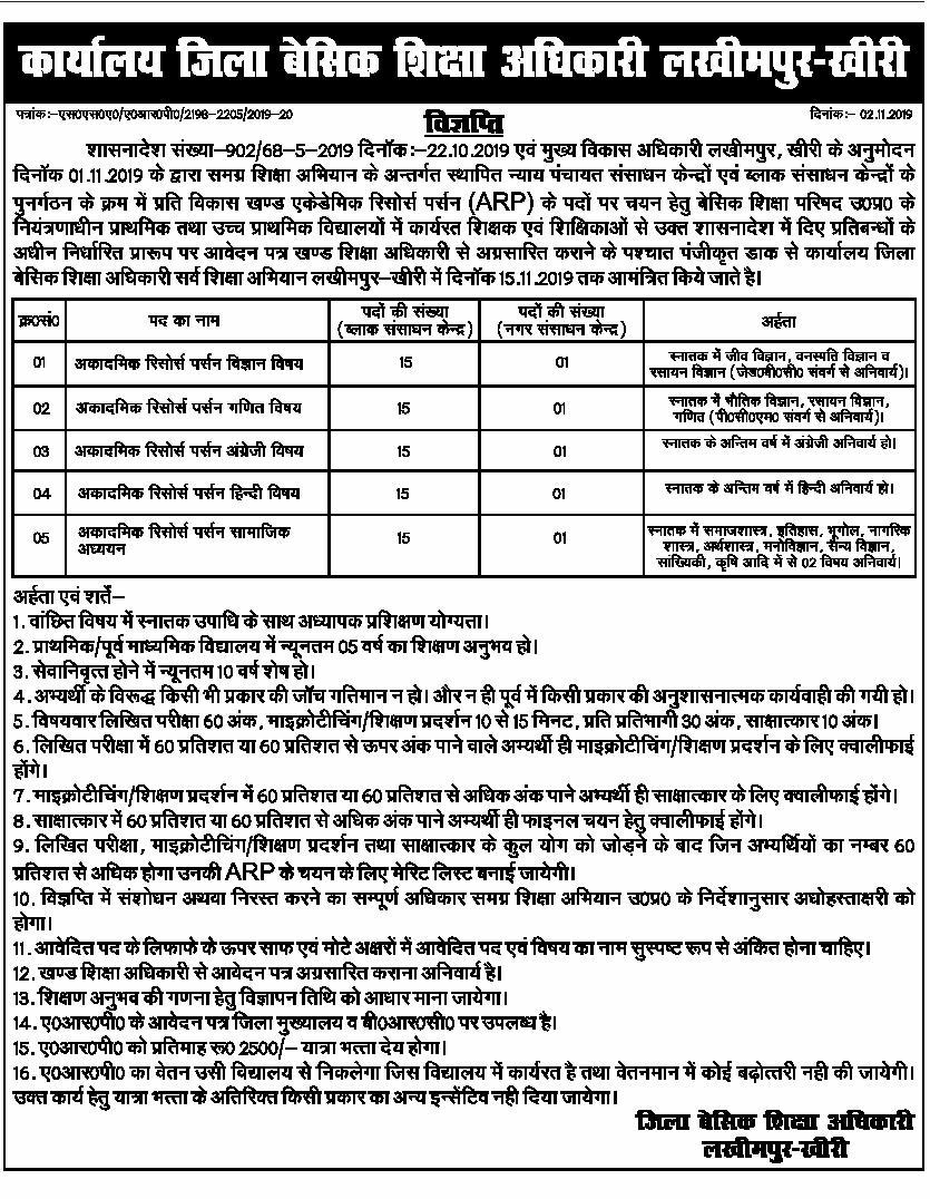 Lakhimpur : ARP पद के चयन हेतु विज्ञप्ति जारी, देखें