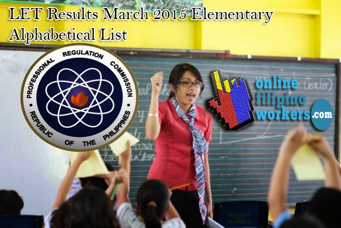LET Passers March 2015 Final List A - E Elementary Level Teachers Board Exam