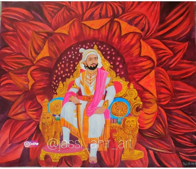 Acrylic painting on canvas. A1 size  shivaji maharaj