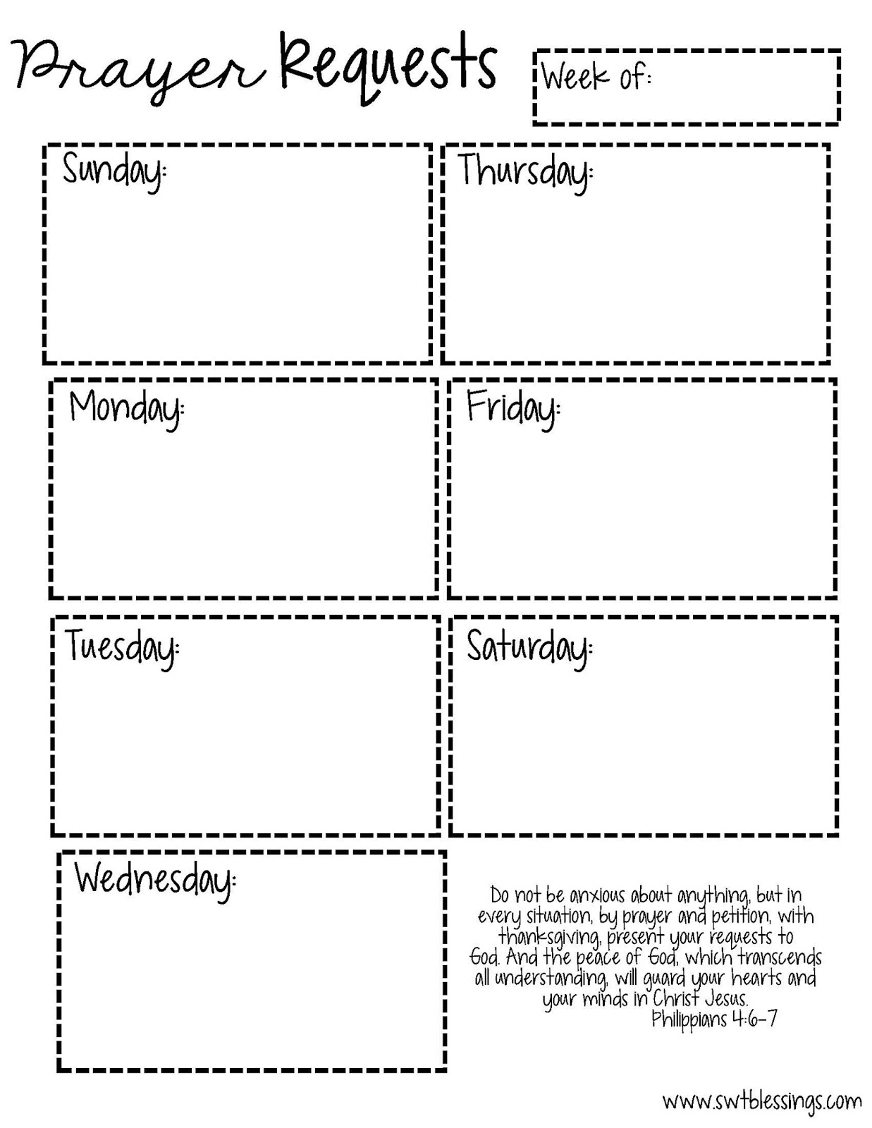 Sweet Blessings Prayer Request Printables