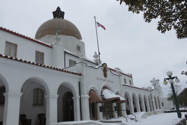 historic bathouse building in winter