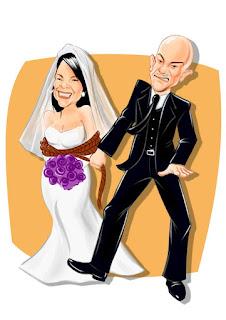 caricatura colorida de noivos