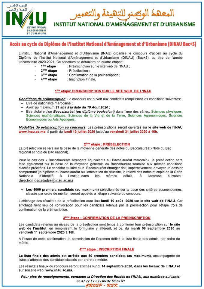 المعهد الوطني للتهيئة والتعمير 2020 INAU