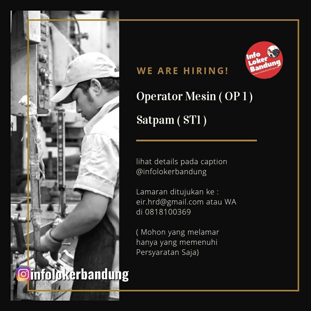 Lowongan Kerja Operator Mesin & Satpam Bandung Januari 2020