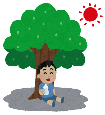 木陰で水を飲む人のイラスト