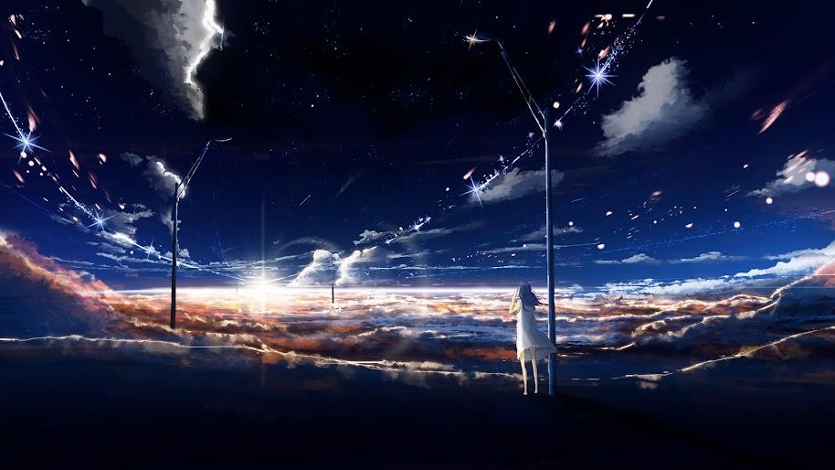 Sunrise, Horizon, Sky, Clouds, Scenery, Anime, 4K, #144