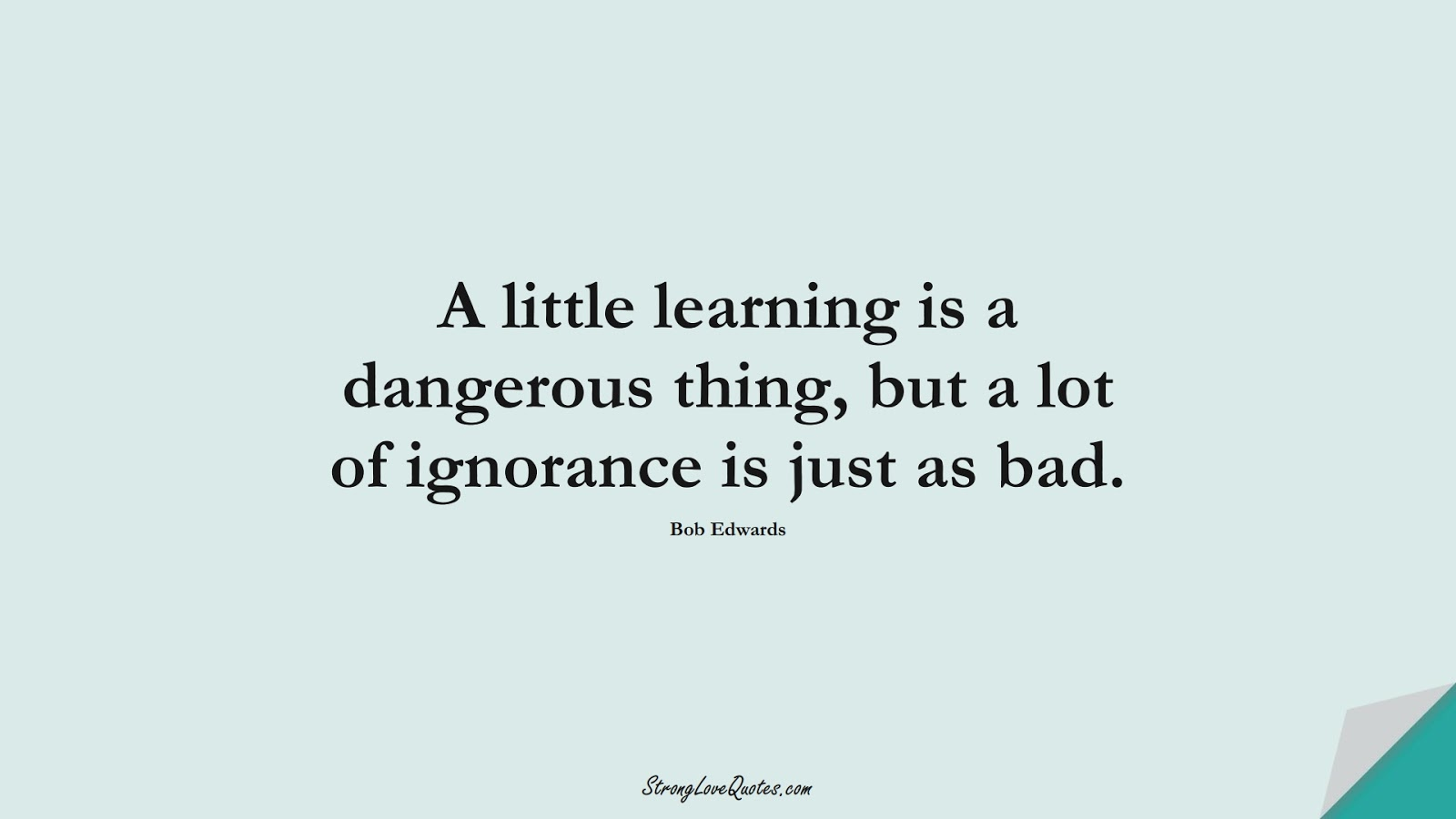 A little learning is a dangerous thing, but a lot of ignorance is just as bad. (Bob Edwards);  #EducationQuotes