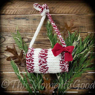 Loom knit handwarmer muff child size christmas themed
