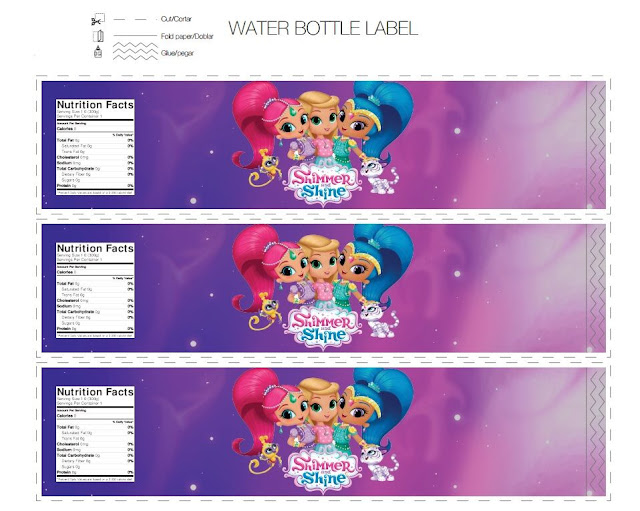 Shimmer and Shine Party Free Printable Banners, Labels and Cards.