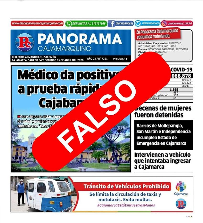 Alcalde de Cajabamba desmiente caso de coronavirus en Cajabamba
