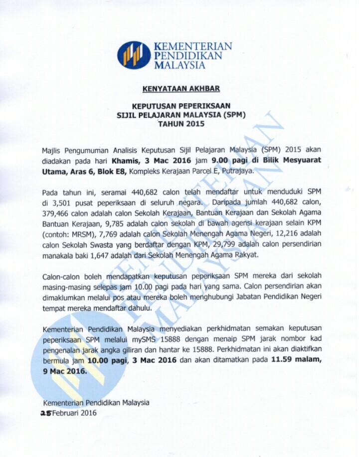 Semakan Keputusan SPM 2015 secara sms dan online