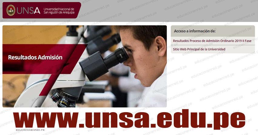 Resultados UNSA 2019 - II Fase (Sábado 23 Marzo) Lista de Ingresantes - Examen Admisión Ordinario - Áreas Sociales - Biomédicas - Universidad Nacional de San Agustín de Arequipa - www.unsa.edu.pe