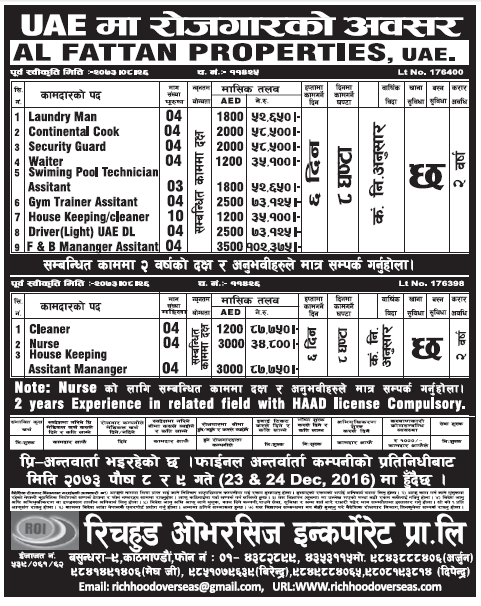 Jobs in UAE for Nepali Candidate, Salary Rs 1,02,375