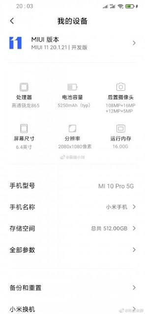 The leak of the new Mi 10 Pro specs reveals 16 GB of RAM