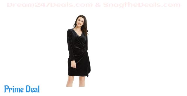 60%OFF Basic Model Women's Velvet Long Sleeve Wrap Dress - Bodycon