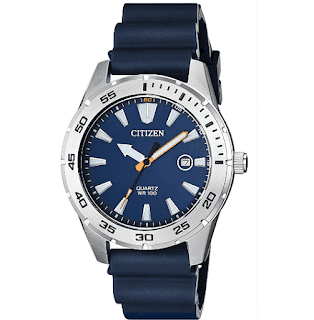 Citizen Quartz Men's Stainless Steel Watch with Blue Strap - $68.24 Shipped