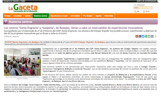 http://lagaceta.educarex.es/leer/centros-santa-engracia-soopena-badajoz-llevan-intercambio-experiencias-innovadoras.html