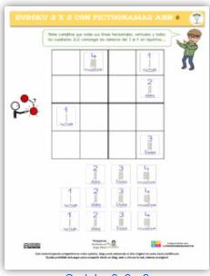 Sudoku 2 x 2, con pictogramas ABN.