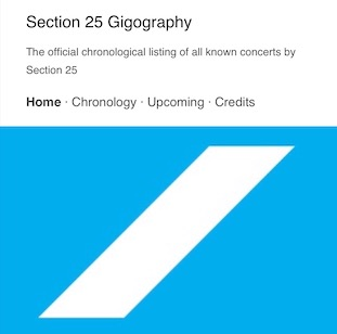 The Official Section 25 Gigography