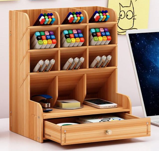 DIY wooden desk organizer