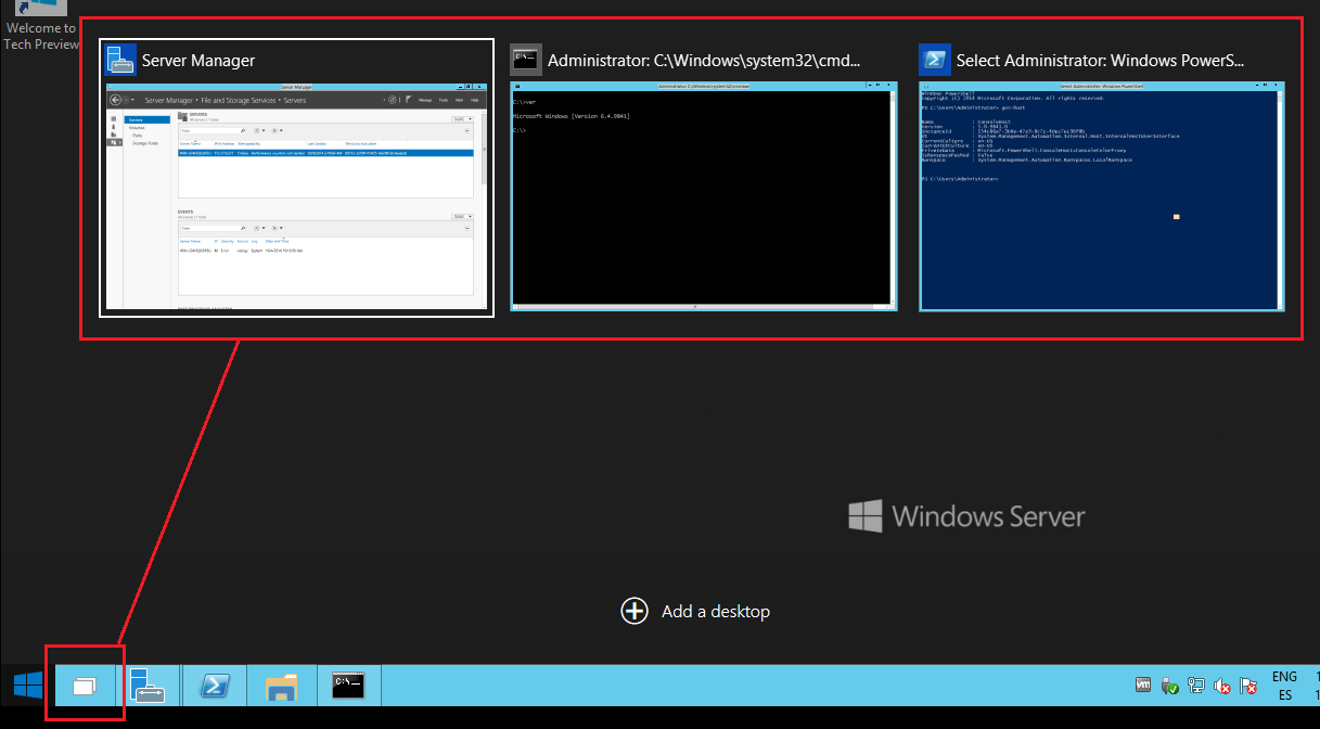 El Alt+tab en Windows Server 2015 Technical Preview