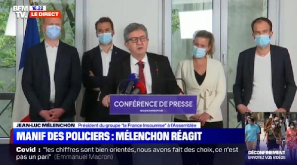 VIDÉO -  Mélenchon (LFI): Les syndicats et les organisations policières n'ont pas à faire la loi.