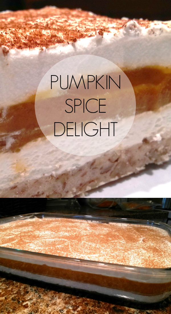 A fun Fall spin on the classic recipe for the cheesecake layered dessert, Chocolate Delight, using pumpkin spice pudding mix!