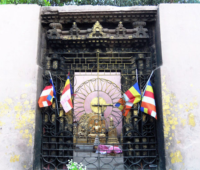 The Ratanaghara (The Place of Basic Contemplation), a small roofless shrine at the Mahabodhi Temple, Bodhgaya. Lord Buddha spent the fourth week after his enlightenment here, meditating on the Patthana or the Causal Law.