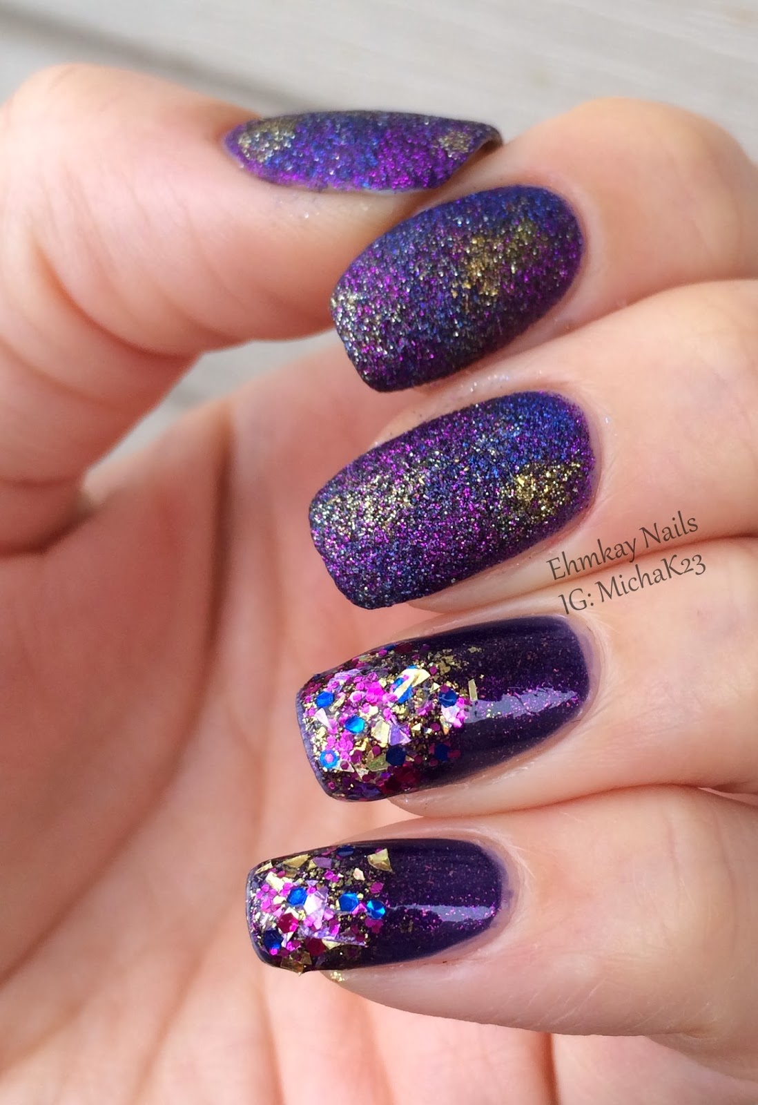 Ehmkay Nails New Year S Eve Nail Art With Kbshimmer Bling: Ehmkay Nails: Texture Saran Wrap And Glitter Gradient Manicure