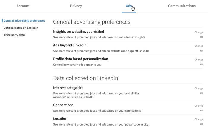 لقطة شاشة لإعدادات LinkedIn Ads